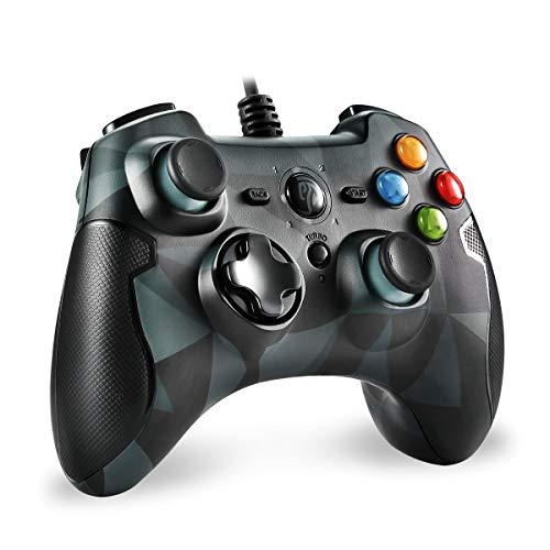 PS3 Gamepad, EasySMX PC Joystick für Spiele mit Kabel mit Dual-Vibration, Turbo und Fronttasten für Windows / Android / PS3 / TV Box, MEHRWEG