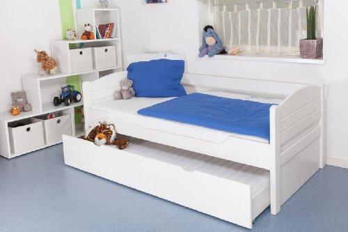 Kinderbett/Jugendbett'Easy Premium Line' K1/s Voll inkl. 2. Liegeplatz und 2 Abdeckblenden, 90 x 200 cm Buche Vollholz massiv weiß lackiert