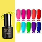 Rosalind Neon Gel Nagellack Set, Soak Off UV lace LED Gel Nagellack Manicure Beauty Nails Salon 10 x 7 ml