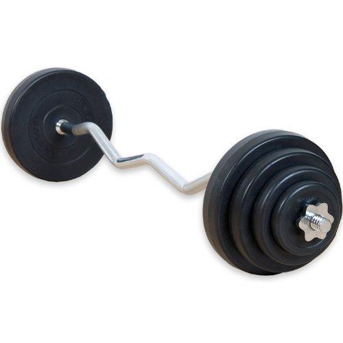 MOVIT 23,5 kg Curlset, 1 SZ Curlstange gerendelt und verchromt mit Sternverschlüssen + 8 Gewichtsscheiben Hantelscheiben Curl Set Hantelset