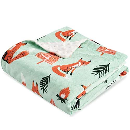 Boritar Fox Babydecke Weich Decke Minky mit doppelter gepunkteter Rückseite Warme Weiche Ultra Soft Für Kinder und süße Kinderdecke für Kleinkindbett, 75 x 100cm Grün