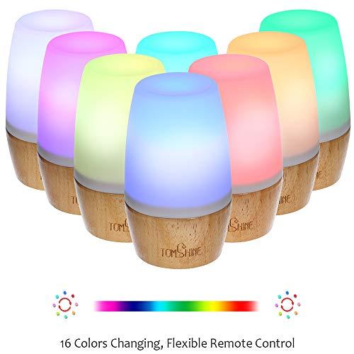 Tischlampe aus Holz, Tomshine Dimmbar Nachttischlampe, LED Tischleuchte mit Fernbedienung, Stimmungslicht mit RGBW 16 Farbwechsel und 4 Beleuchtungsmodi