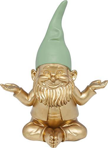 Kare Design Deko Zwerg Meditation, Gold Grün, Gartenzwerg, Höhe 19cm