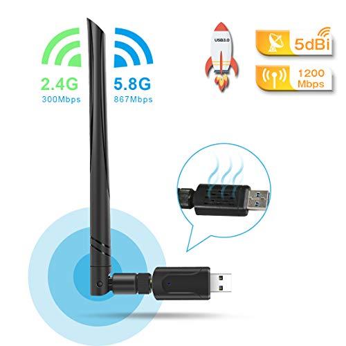 QianWei USB 3.0 WiFi Adapter,WLAN Stick 5dBi,Dualband WLAN Adapter 1200mbps (5.8G/867Mbps+2.4G/300Mps) USB WiFi für WindowsXP/Vista/Win7/Win8/Win10/Mac10.6-10.14