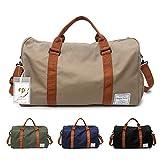 FEDUAN Herren Handgepäck Trainingstasche Fitnesstasche Gym Tasche Sporttasche hochwertige Reisetasche mit Schuhfach 48x26x28 cm mit Schultergurt (Khaki)