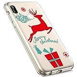 MoreChioce Huawei P20 Lite Hülle,Huawei P20 Lite Handyhülle, Durchsichtig Silikon Etui Christmas Weihnachten Schneeflocke Hirsch Muster Transaparent TPU Bumper