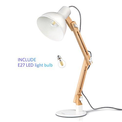 Tomons LED Leselampe im klassichen Holz-Design, Schreibtischlampe, Tischleuchte, verstellbare Schreibtischlampe, Lampe mit verstellbarem Arm