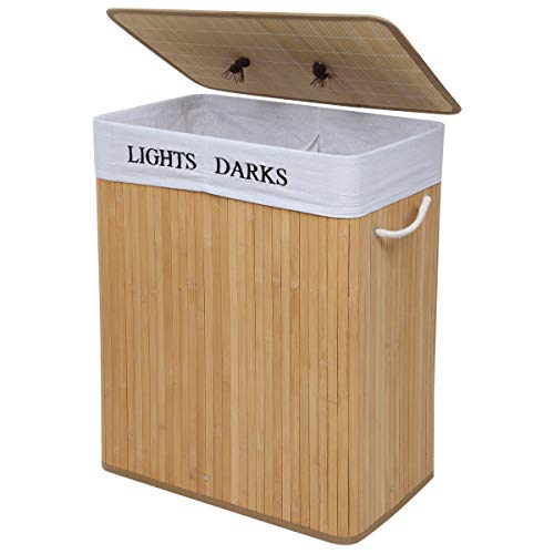 LEMAIJIAJU Bambus Wäschekorb, Wäschebox mit 2 Fächern, Wäschesammler mit beweglichem Deckel und Baumwollem Wäschesack,100L