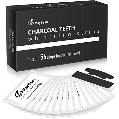 Aktivkohle White Stripes 56pcs, MayBeau Zahnaufhellungs Bleaching Strips Zahnpflege Zahnreinigung Zahnauhellung-Streifen Zahnbleaching Set für Weiße Zähne Weisser Machen - Schwarz White-Strips