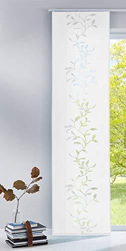 Gardinenbox Moderner Flächenvorhang Raumtrenner Schiebegardine Tendril aus hochwertigem Ausbrenner-Stoff mit Paneelwagen, 245x60 (HxB), Weiß, 85611