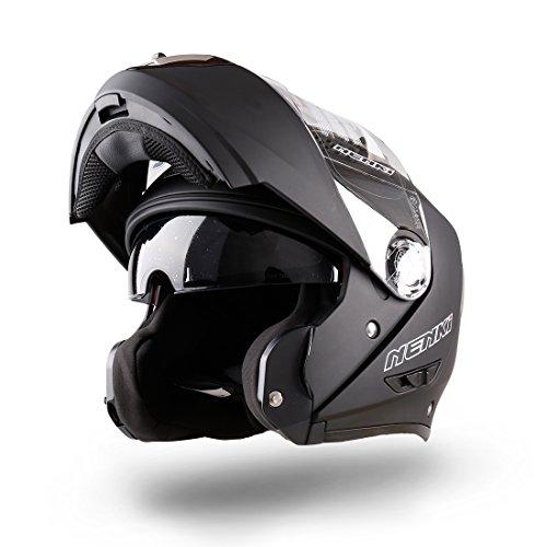 NENKI NK-860 klapphelm für Motorrad Moped Roller( Groß,Schwarz)