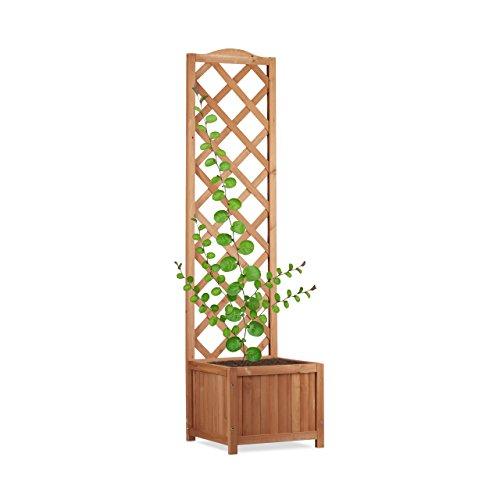 Relaxdays Rankkasten Holz, Garten Pflanzkübel m. Rankgitter, 35 L Pflanzkasten, 150 cm Rankhilfe Wetterfest, Natur