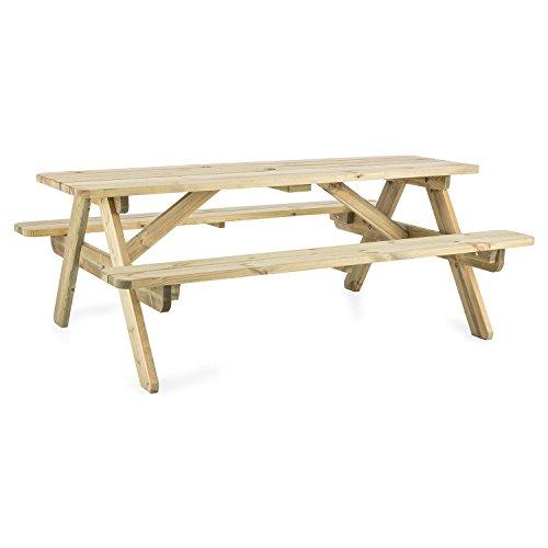 Blumfeldt Picknicker 180 • Picknicktisch • Gartentisch • Garnitur • Tisch mit 2 Sitzbänken • 180 x 70 x 128 cm • skandinavisches Kiefernholz • FSC-zertifiziert • abgerundete Ecken • Kesseldruckimprägnierung • witterungsbeständig • stabil • hellbraun