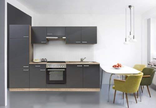 respekta Küche Küchenzeile Einbauküche Küchenblock 270 cm buche grau edelstahl ceran KB 270 BGEC