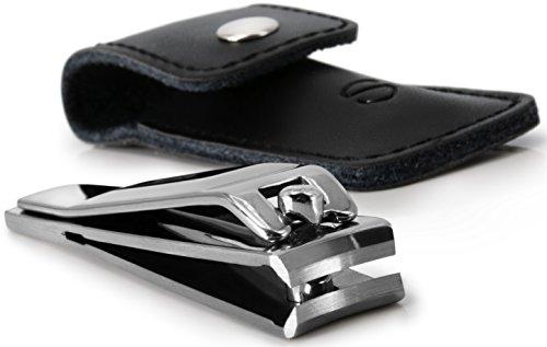 STAHLHERR Hochwertiger Nagelknipser inkl. Echtleder Etui, rostfreier Edelstahl, poliert, 80 mm groß - Deutsche Qualität mit 100% iger Zufriedenheitsgarantie