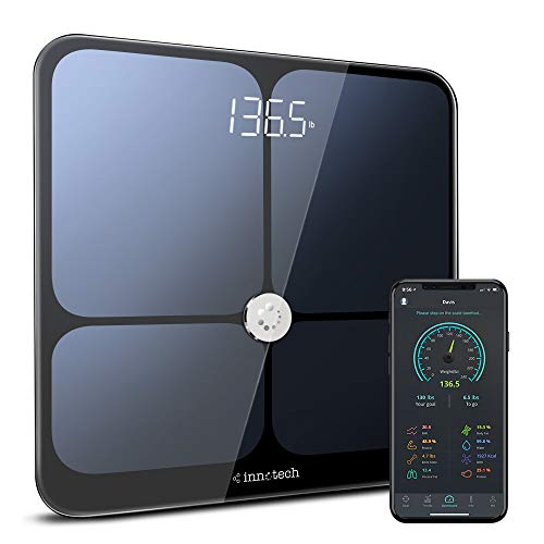 Innotech Körperfettwaage Bluetooth Personenwaagen Smart Digitalwaage mit APP BMI Körperanalysewaage für Gewicht, Muskelmasse, Wasser, Protein usw. Kompatibel mit Apple Health, Google Fit und Fitbit