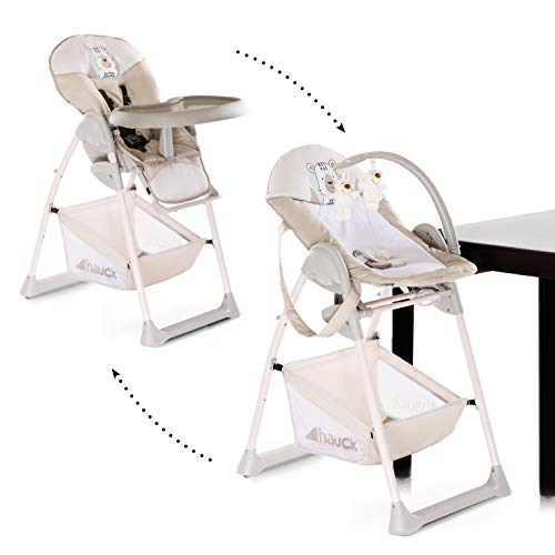 Hauck Sit'n Relax 3 in 1 Newborn Set - Neugeborenen Aufsatz und Kinderhochstuhl ab Geburt, mit Liegefunktion / inkl. Spielbogen, Tisch, Rollen / höhenverstellbar, mitwachsend, klappbar-Friend (braun)