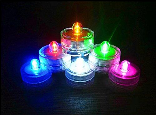 12er Set Tauchwasserdicht Unterwasser Teelichter Farbwechsel Flammenlose LED Kerzen Sicherheit f¨¹r Dekoration-Bunt und Wasserdicht