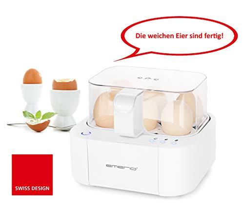 Emerio Eierkocher NEUHEIT, kocht alle drei Garstufen [weich|mittel|hart] in nur einem Kochvorgang mit perfektem Ergebnis, Sprachausgabe, einzigartig in Technik und Design, weiß, 400 Watt