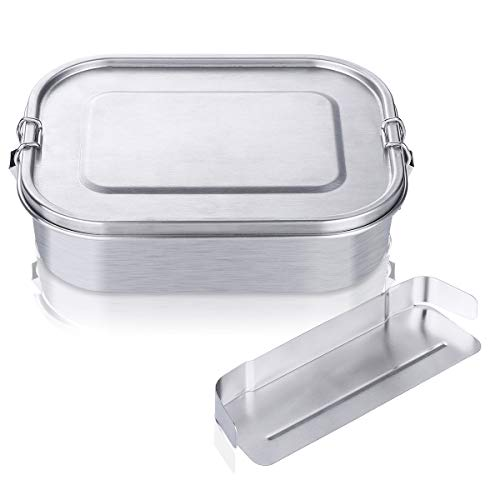 Charminer Brotdose aus Edelstahl ,Bento Box, Metall Dichte Brotdose,Lunchbox für auslaufsicher1400mlFassungsvermögen mit Fächern,Die große Brotbox zum Wandern/Reisen/Schule Kinder und Erwachsene