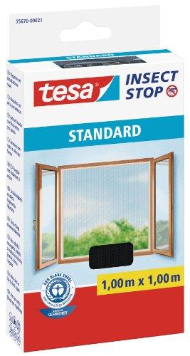 tesa Fliegengitter für Fenster, Standard Qualität, anthrazit, durchsichtig, 1m x 1m