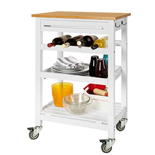SoBuy Servierwagen, Küchenwage mit Tischplatt aus Bambus FKW16-WN (weiß+natur)