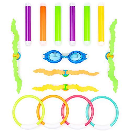 15 Pack Tauchringe & Spielzeuge, Wasserspielzeug - 6x Tauchstäbe Tauchsticks 4x Tauchringe 4x Wasser Gras Tauchball Streamer 1x Schwimmbrille - Schwimmen Pool Spielzeuge für Kinder Mädchen Jungen