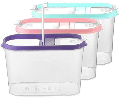 My-goodbuy24 Schüttdosen für Müsli - Cornflakes - 3er Set - Vorratsdosen für Lebensmittel - Frischhaltedosen - Streudosen - 2 Aufklappbare Deckel - stapelbar - Spülmaschinenegeeignet (3, 1,4L - Mix)