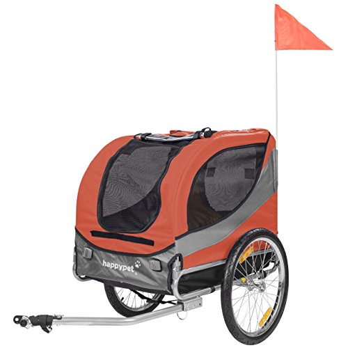 HAPPYPET Fahrrad-Anhänger für Hunde M Hundeanhänger Hundefahrradanhänger Hundetransporter Regenschutz inkl. Anhängerkupplung Regenschutz SUNSET ROT