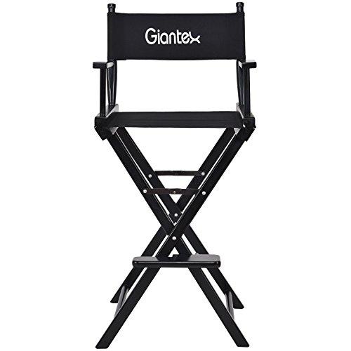 COSTWAY Hoher Regiestuhl Klappstuhl Faltstuhl Make-up Chair Schminkstuhl Holz klappbar faltbar