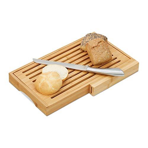 Relaxdays 10024612 Brotschneidebrett, praktisches Brotbrett mit Messer aus Edelstahl, Krümelrost, Bambus, HBT 4x40x24 cm, Natur