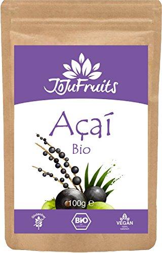 Acai Pulver Bio (100g) - JoJu Fruits - (Vegan, Glutenfrei, Laktosefrei) Superfood aus Bio Acai Beeren