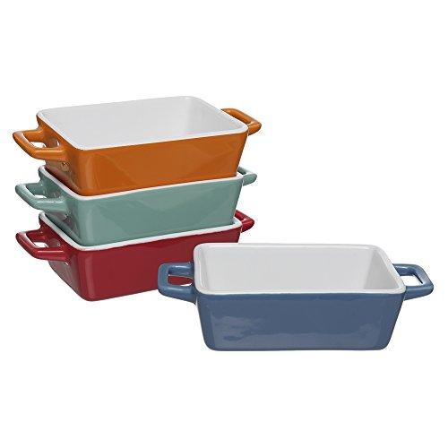 Invero 4 Stück Mini-Steingut, rechteckige, kleine, bunte Auflaufform, ideal für Lasagne, Pies, Kasserolle, Tapas und mehr, direkt vom Ofen auf den Tisch