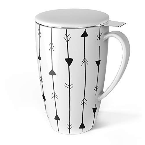 Sweese Porzellan Tasse, Teesieb Becher, Teetassen mit Sieb und Deckel, 400ML