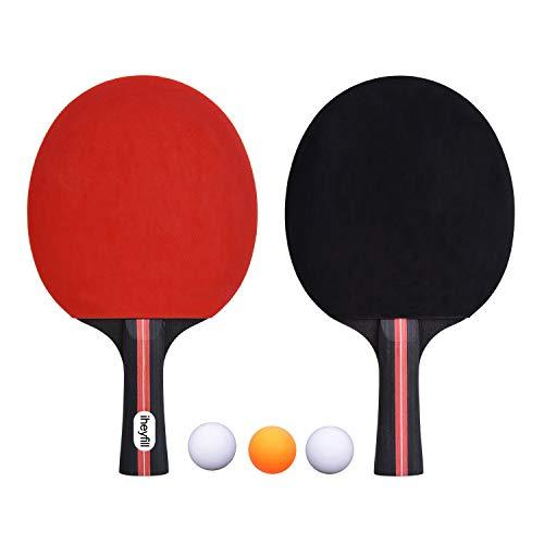 iheyfill Tischtennis-Set,Tischtennisschläger + 3 Tischtennis-Bälle + Tischtennisschlaeger Hüllen,Pingpong-Schläger Tischtennis schlaeger Tischtennis-Schläger Ideal für Anfänger, Familien und Profis