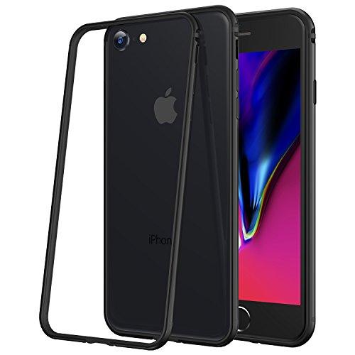 iPhone 7 Hülle, iPhone 8 Hülle, RANVOO Bumper Hülle Aluminium Rahmen + Innen Gepolstert TPU Metall Bumper case for iPhone 7/8 4,7 Zoll,Schwarz