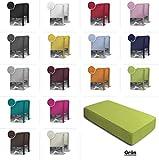 one-home 2er Set Jersey Spannbettlaken Spannbetttuch Baumwolle Topper Boxspringbett Laken, Farbe:Grün, Maße:2er Pack 90-100 x 200 cm