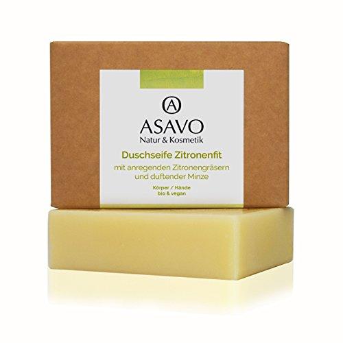 ASAVO Premium Naturseife Zitronenfit, handgeschöpfte Naturseife, mit Bio-Karitébutter & dem Duft von Zitronengras & Minze, vegan, ohne Palmöl, 95g