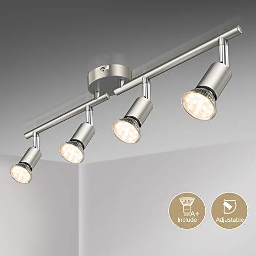 Defurhome LED Deckenleuchte Drehbar, 4 Flammig LED Strahler Deckenlampe Spot,Modern Deckenstrahler (Mattes Nickel) für Küche, Wohnzimmer, Schlafzimmer, inkl. 4 x 4 W GU10 LED Lampen (400LM, warmweiß)