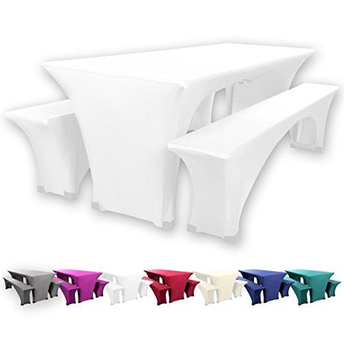 Gräfenstayn Leopold Stretch Biertischhussen-Set 3 tlg für Bierzeltgarnitur – 70cm oder 50cm Tischbreite - mit Öko-Tex Standard 100 (70 x 220 cm, Weiß)