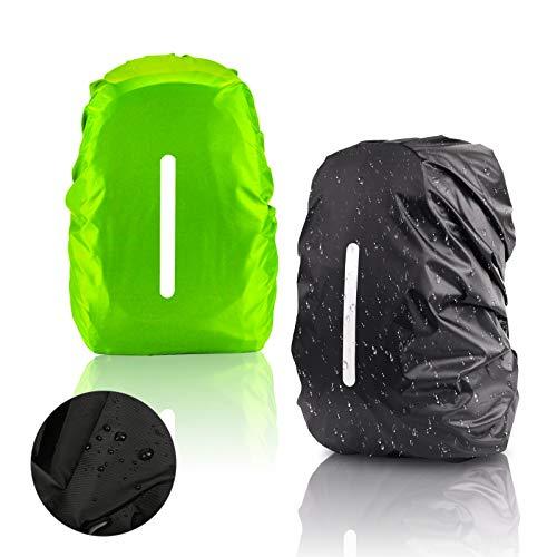KATOOM 2er Regenhülle Rucksack Schulranzen Regenschutz wasserdichte Regenüberzug Ranzen Rucksackschutz für Outdoor Camping Wandern mit Reflektorstreifen Sicherheitshülle M (30L-40L)