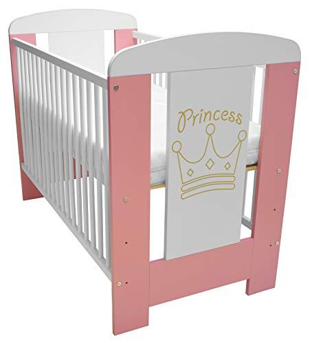 Best For Kids Gitterbett My Sweet Baby in 3 Farben mit neuer 10 cm Matratze aus Schaumstoff TÜV Zertifiziert Geprüft, Kinderbett Babybett braun 4 Teile 120x60 (Rosa-Princess)