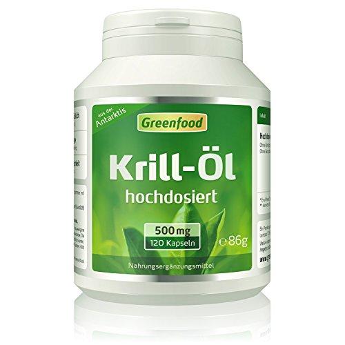 Greenfood Krill-Öl, 500 mg, 120 Kapseln, hochdosiert - reich an EPA und DHA, für ein starkes Herz und gute Augen. Fördert Gedächtnis und Konzentration. OHNE künstliche Zusätze. Ohne Gentechnik.