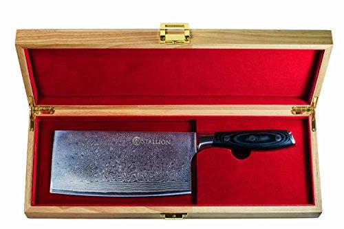 Stallion Damastmesser -Chinesisches Kochmesser aus Damaststahl in edler Geschenkbox - das ideale Geschenk für alle Freunde schöner Messer
