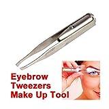 Gfone Edelstahl LED Licht Wimpern Augenbraue Pinzette Haarentfernung Augen Make up Tool