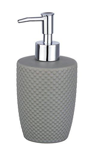 WENKO Seifenspender Punto - Flüssigseifen-Spender, Spülmittel-Spender Fassungsvermögen: 0,38 l, Keramik, 8,5 x 17,5 x 8,5 cm, grau