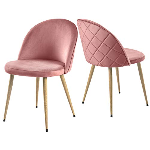 Modern Luxe   2er Set Esszimmerstuhl Wohnzimmerstuhl Lounge Sessel SAMT Stoff Weicher Sitz und Rücken mit Holzernen Metallbeinen, Farbauswahl
