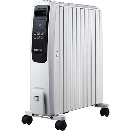 Pro Breeze 2500W Ölradiator mit digitalem Display - elektrischer, energiesparender Heizkörper mit 10 Rippen, Zeitschaltuhr, 4 Heizstufen, Thermostat, Fernbedienung und Sicherheitsabschaltfunktion