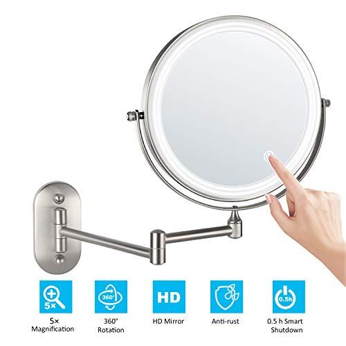 alvorog Kosmetikspiegel LED Beleuchtet Make-up Spiegel Wandspiegel 360°Schwenkbar Faltbar Wandmontage Beleuchtung für Badezimmer Kosmetikstudio Zuhause