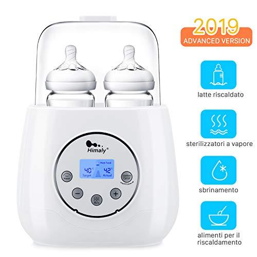 Himaly Flaschenwärmer Baby Unterwegs Babykostwärmer mit Warmhaltefunktion LED-Display für Babyflaschen Schnell Doppel Flaschen Wärmer Weiß